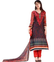 Buy Aarya Pure Lawn Cotton Black and Red Color Designer Dress Material Diwali Gifts dress-material online