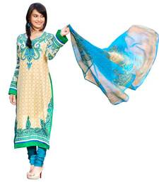Buy AARYA Pure Lawn Cotton Beige and Blue Color Designer Dress Material Diwali gifts for sister dress-material online