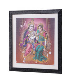 Buy Radha-Krishna 18 Inch X 18 Inch Abstract Art Print | Textured Fra... painting online