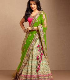 Buy Cream embroidered net unstitched lehenga bridal-lehenga online