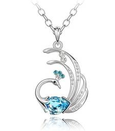 Buy Eternity Collection's Blue & White Crystals Jewelled Feathery Love Peacock Pendant as Valentine Gift Pendant online