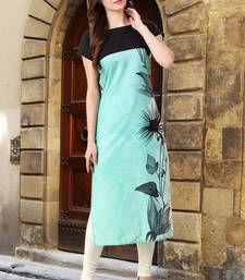 Buy Women Aqua Blue Crepe Digital Printed Casual Kurti long-kurti online