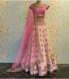 Buy Pink Taffeta silk embroidered semi stitched lehenga choli lehenga-choli online