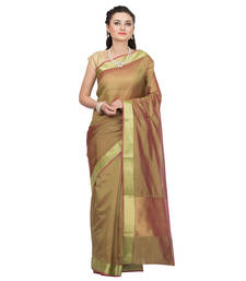Buy Brown woven tissue saree with blouse tissue-saree online