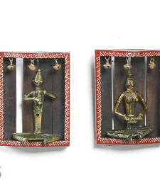 Buy Tribal Wall D  cor with Metal Figurines and Painted Motifs painting online