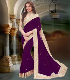 Buy purple plain georgette saree with blouse georgette-saree online