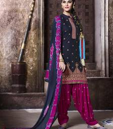 Buy Black embroidered cotton semi stitched salwar with dupatta patiala-salwar online