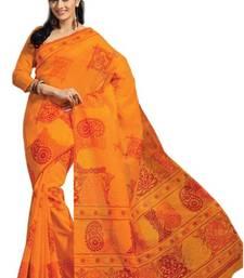 Buy Aria Orange cotton printed summer collection saree ks342 cotton-saree online