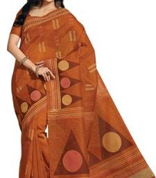 Buy Aria Rust cotton printed summer collection saree ks346 cotton-saree online