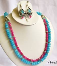 Buy Pink and Blue Beads Two Layer Necklace Set necklace-set online