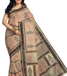Buy Aria Cream cotton printed summer collection saree ks358 cotton-saree online