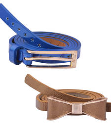 "Buy "" Brown and Blue Color"" Belt Combo For Womens gifts-for-sister online"