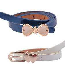 "Buy ""Blue and White Color"" Belt Combo For Womens gifts-for-sister online"
