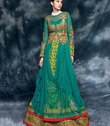 Buy Teal embroidered net semi stitched salwar with dupatta wedding-salwar-kameez online