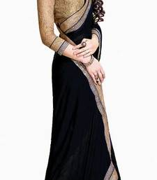 Buy Jai Ho Bollywood  Black Chiffon Saree other-actress-saree online