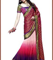 Buy Pink and Purple Viscose and Net Lehenga Style Saree With Blouse viscose-saree online