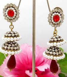 Buy Victorian Double Step Tokri Earring Blood Red stud online