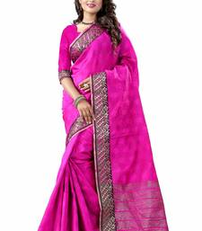 Buy Pink plain cotton silk saree with blouse one-minute-saree online
