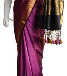 Buy Purple With Black & Zari Border banarasi Silk Saree with Fringes banarasi-silk-saree online