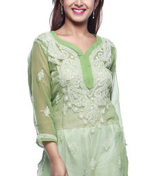 Buy Green embroidered georgette kurtas-and-kurtis chikankari-kurti online