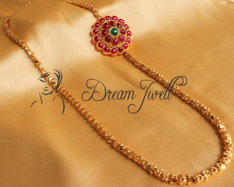 Buy Beautiful Kemp Floral Mugappu Long Gold Plated Chain