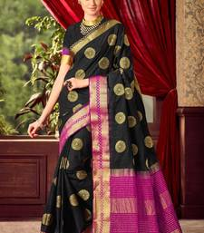 Buy Black woven tussar silk saree with blouse tussar-silk-saree online