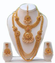 Buy South indian traditional antique maroon kundan haram set bridal-set online