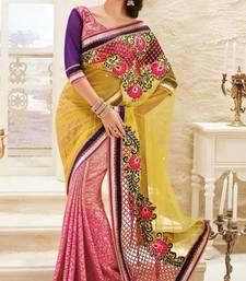 Buy Resplendent Pink and Mustard Half and Half Saree With Blouse  viscose-saree online
