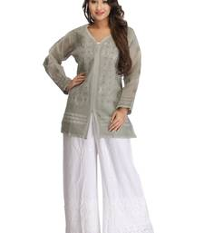 Buy Grey embroidered cotton kurtas-and-kurtis chikankari-kurti online