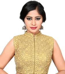 Buy Gold embroidered Brocade collar blouse readymade-blouse readymade-blouse online