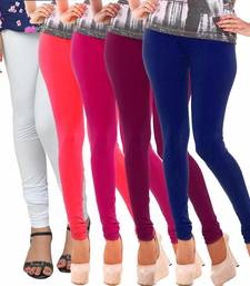 Buy Multicolor Churidar Komal 5Pc Cotton Leggings leggings-combo online