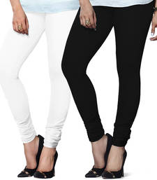 Buy White n Black Churidar Komal Cotton Leggings leggings-combo online