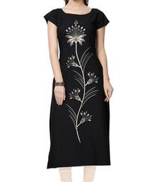 Buy black printed crepe stitched kurti long-kurti online