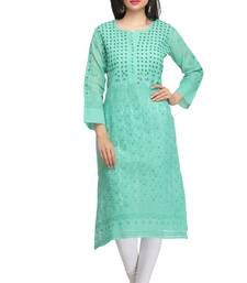 Buy Green embroidered cotton embroidered-kurtis chikankari-kurti online