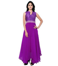 Buy Purple printed georgette semi stitched party wear gowns evening-wear-dress online