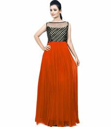 Buy Orange embroidered net semi stitched party wear gowns evening-wear-dress online