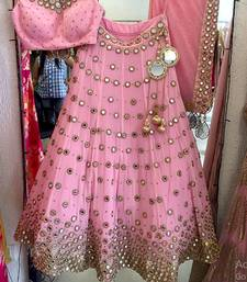Buy Baby pink embroidered net unstitched lehenga ghagra-choli online
