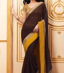 Buy Stylish Chocolate Brown Saree with Dull Gold Dori Embroidery Border With Blouse chiffon-saree online