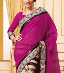 Buy Pink and Beige Half and Half saree with stripes and embroidery  With Blouse cotton-saree online