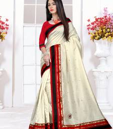 Buy Off White plain Cotton saree with blouse cotton-saree online