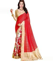 Buy multicolor printed cotton poly saree with blouse cotton-saree online