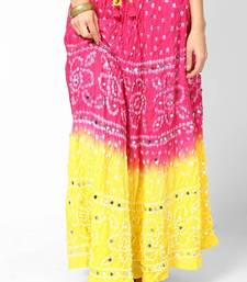 Buy Amazing Pink Yellow Bandhej Hand Work Skirt navratri-skirt online