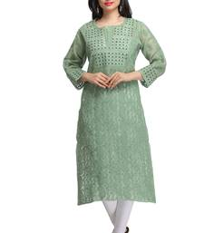 Buy Green embroidered cotton chikankari-kurtis chikankari-kurti online