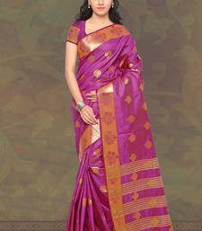 Buy Magenta plain banarasi silk saree with blouse banarasi-saree online