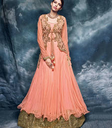 Buy Peach embroidered net semi stitched salwar with dupatta wedding-salwar-kameez online