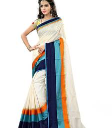 Buy Multicolor printed cotton saree with blouse cotton-saree online