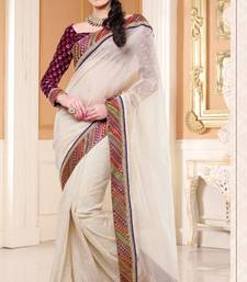 Buy White Color Shimmer Party Wear Saree With Blouse shimmer-saree online