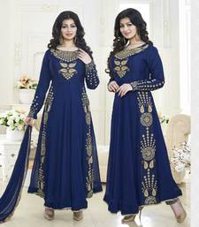 Buy Navy blue embroidered georgette semi stitched salwar with dupatta ayesha-takia-salwar-kameez online