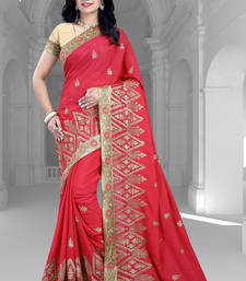 Buy Pink embroidered satin saree with blouse georgette-saree online