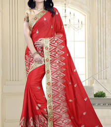 Buy Red embroidered satin saree with blouse georgette-saree online